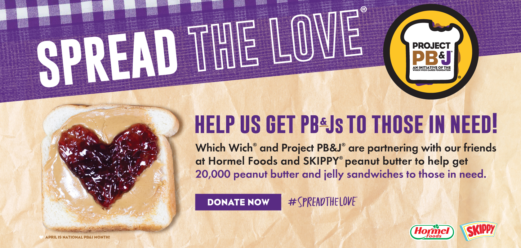 Spread the Love! Help us get PB&J's to those in need! Donate now!