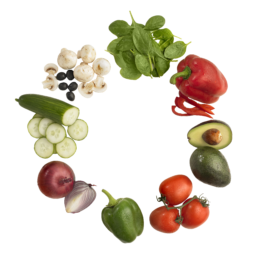 images of vegetables such as tomatos, avocados, red and green peppers, spinach, mushrooms, cucumbers, and red onion