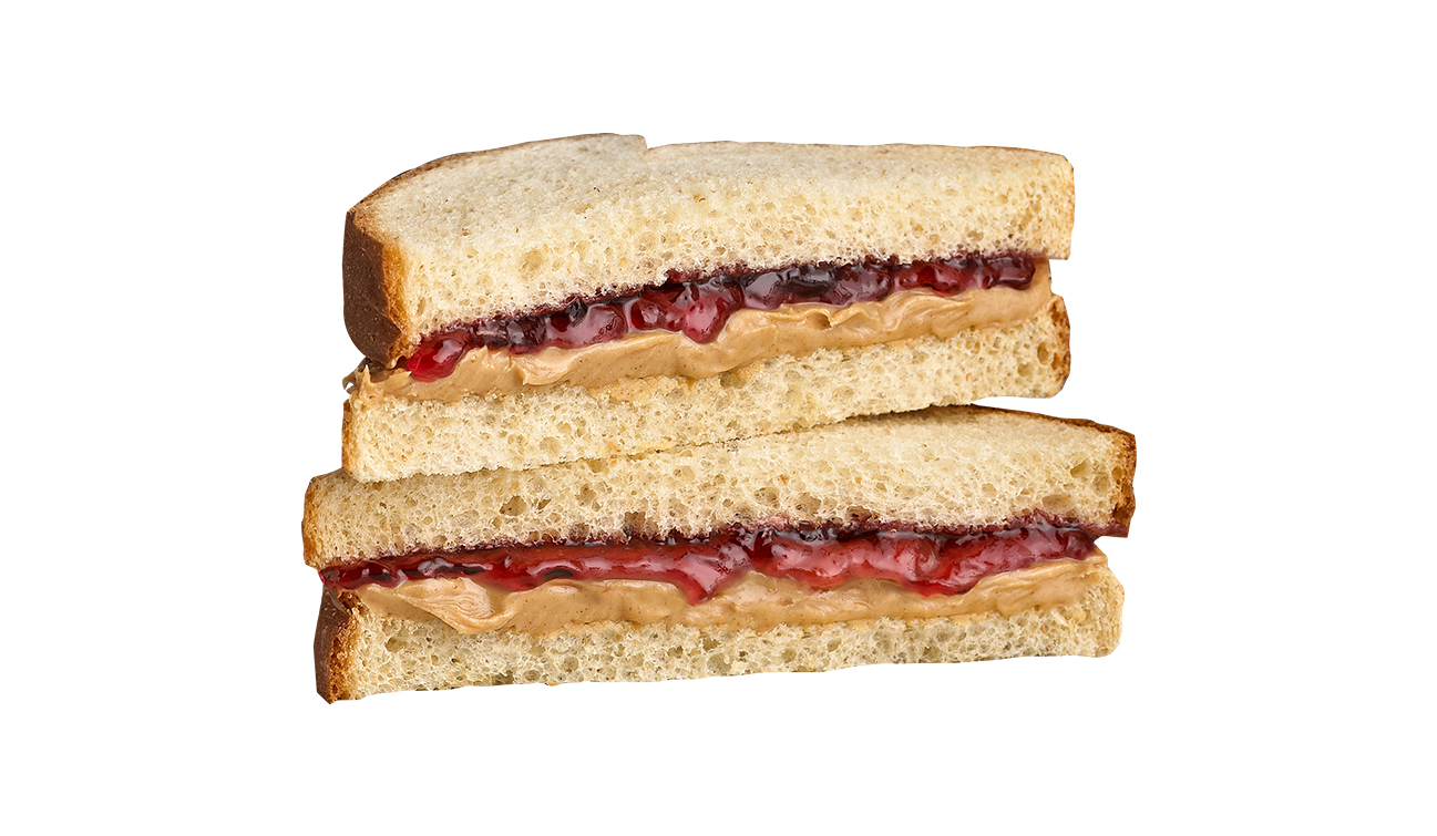 stacked peanut butter and jelly sandwich