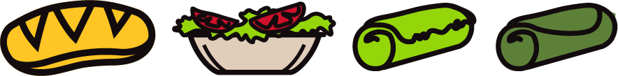 animated drawings of salad, veggie wrap and sandwich logo