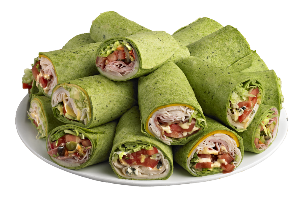 Which wich catering platter featuring spinach wrapped sandwiches