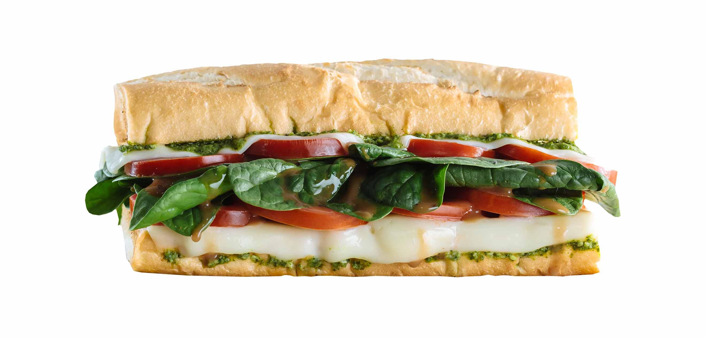 Which wich veggie caprese salad sandwich