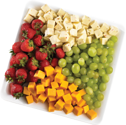 Fruit and cheese tray with grapes, strawberries, pepperjack and cheddar cubes